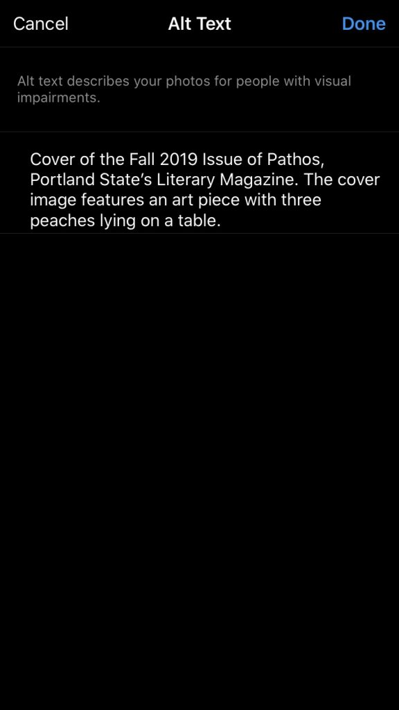 Sample alt text for the example image is presented. It reads, cover of the Fall 2019 issue of Pathos, Portland State's Literary Magazine. The cover image features an art piece with three peaches lying on a table.