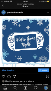 Student Media Winter Game Night graphic.