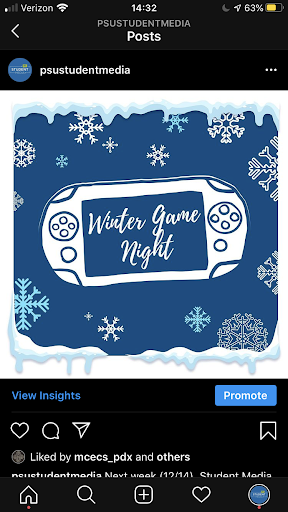 Student Media Winter Game Night graphic.