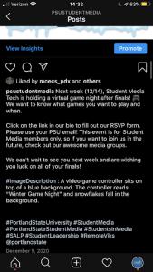 Student Media Example Post Image Description.