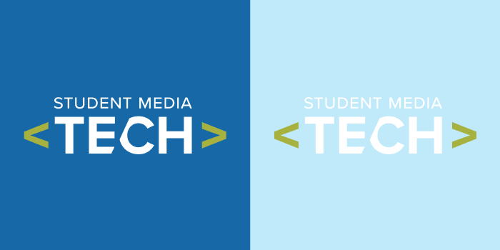 Two copies of the Student Media Tech logo on different contrasting backgrounds to show readability differences.